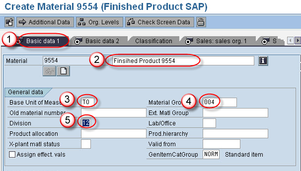 SAP SD: Create Material Master Data
