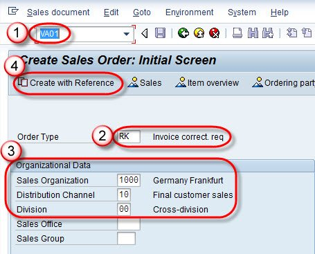 how to create invoice correction request in sap sd