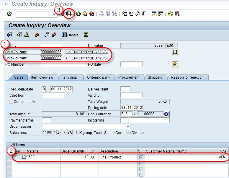 How to create inquiry in sap va11 click on save button malvernweather Gallery