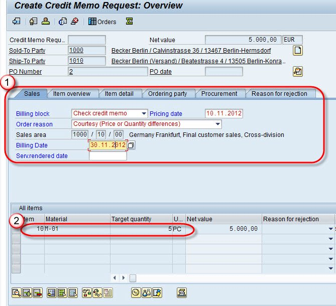 how to create credit memo in sap