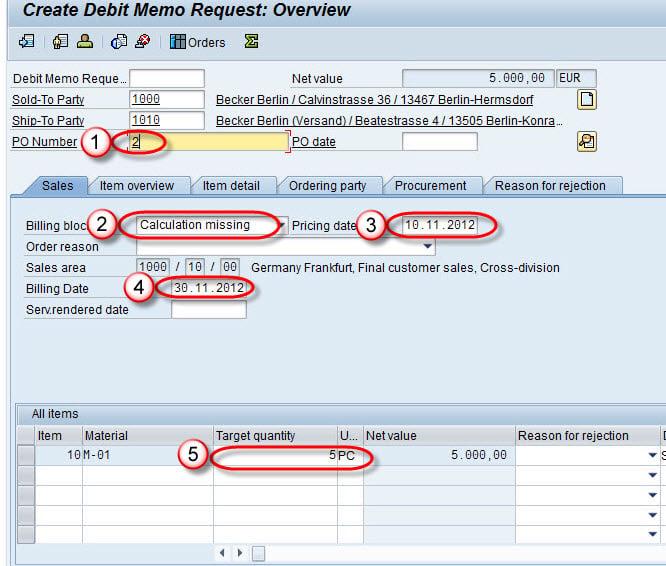 how to create debit memo in sap