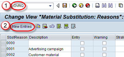 Substitution Reasons OVRQ in SAP