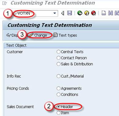 Text Determination for Sales Document: SAP VOTXN