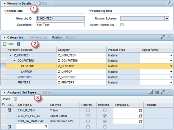 sap crm product master  hierarchy  categories  set types