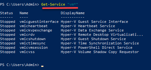 Powershell Get-Service command example