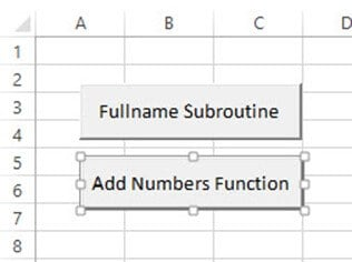 how to call a function with a button vba